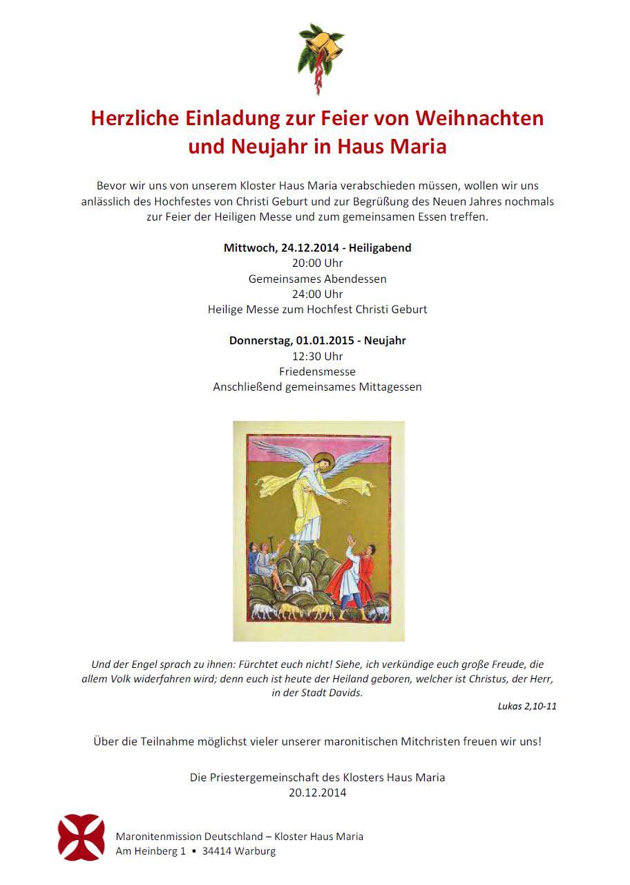 einladung zur feier von weihnachten und neujahr im haus maria, Einladungen