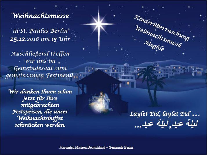 einladung zur weihnachtsmesse & abschied von pater boutros, Einladung