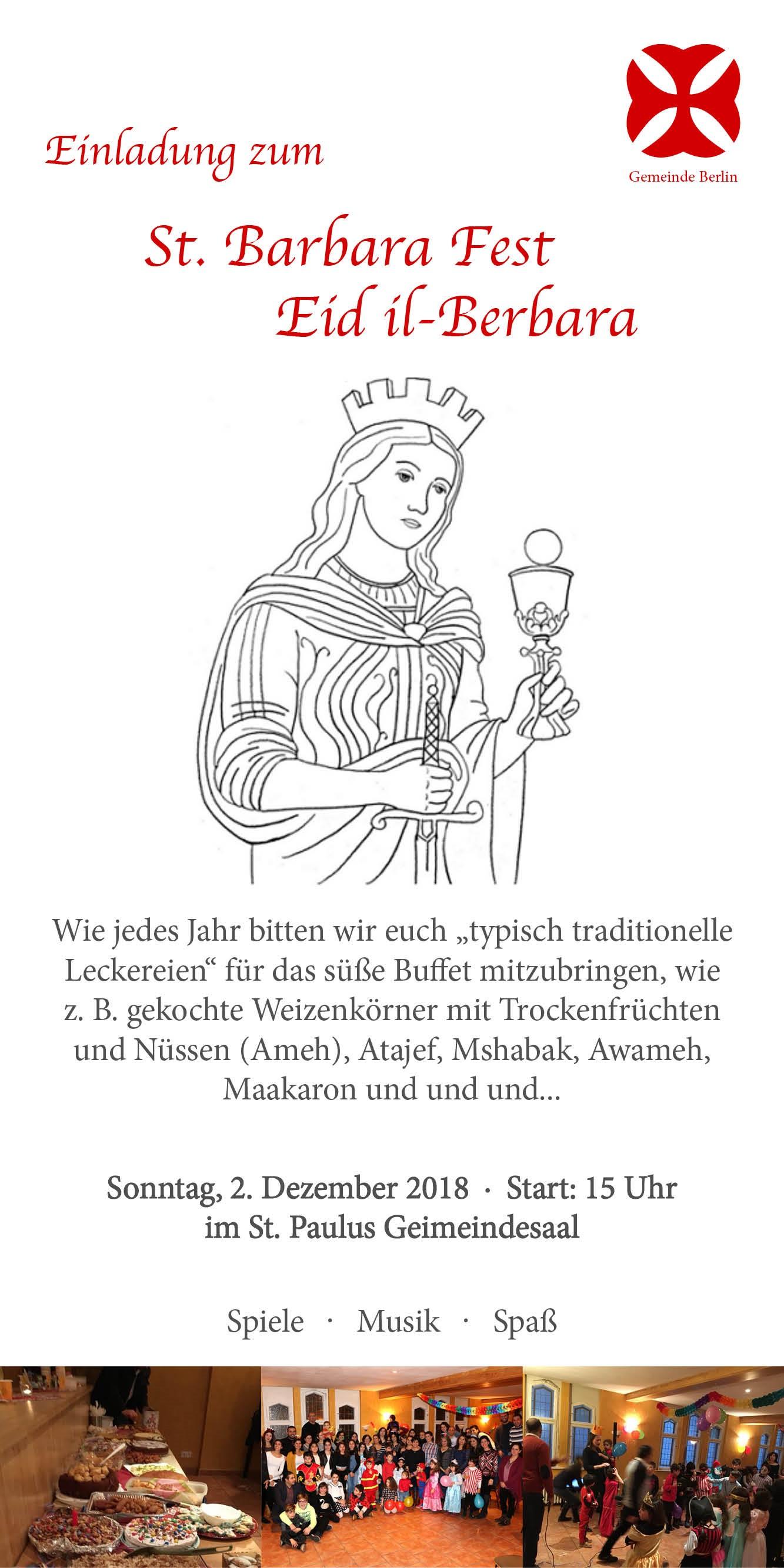Einladung zum St. Barbara Fest – Gemeinde Berlin